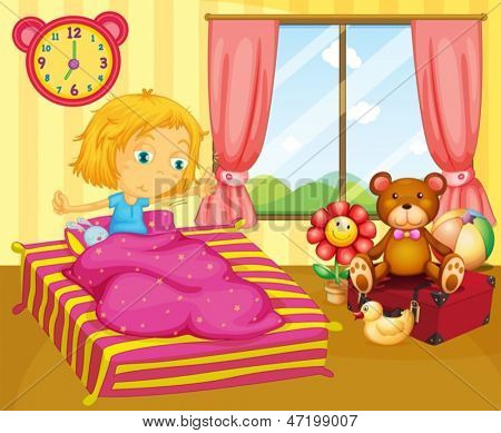 Illustration of a young girl waking up