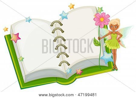 Illustration of an open book with a fairy holding a pink flower on a white background