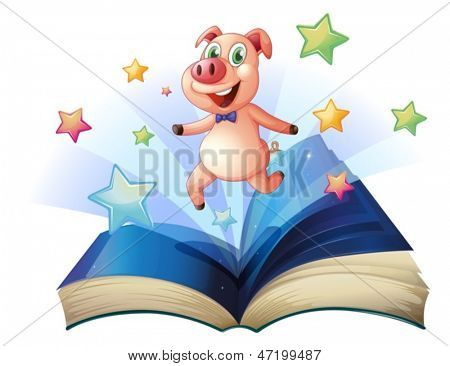 Illustration of an open book with a pig jumping happily on a white background