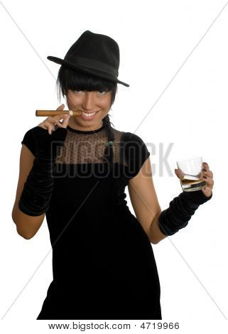 Sexy Girl With Cigar And Whisky