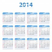 stock photo of weekdays  - Blue glossy calendar for 2014 - JPG