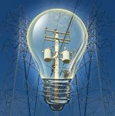 stock photo of fuel efficiency  - Electricity concept with power line towers distributing electricity with an Incandescent Light bulb highlighting electrical equipment as an energy and power concept for conservation and the environment - JPG