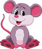 pic of rats  - Vector illustration of Cute mouse cartoon isolated on white background - JPG