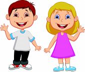 Cartoon boy and girl waving hand