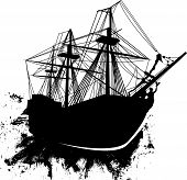picture of pirate ship  - Detailed vector illustration of pirate sailing ship in grunge style - JPG
