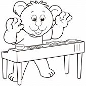 picture of organist  - Cartoon Bear playing an electronic organ - JPG