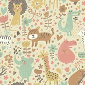 stock photo of jungle animal  - Cute floral seamless pattern with wild animals from Africa - JPG