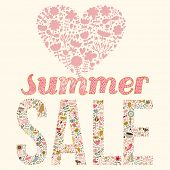 Summer sale. Concept vector illustration in pink colors. Sale banner with cartoon heart