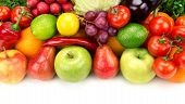 stock photo of fruits  - set of fruits and vegetables isolated on white background - JPG