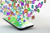 stock photo of sms  - Mobile Phone with lots of apps flying arround - JPG