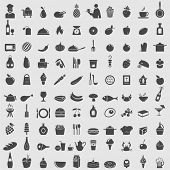 stock photo of restaurant  - Big collection of food icons - JPG