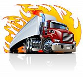 stock photo of tractor trailer  - Vector Cartoon Semi Truck - JPG