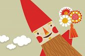 picture of gnome  - Happy scene with cute gnome holding flowers bouquet - JPG