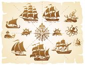 pic of wind wheel  - Set of various marine emblem silhouettes - JPG