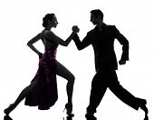 picture of tango  - one caucasian couple man woman ballroom dancers tangoing  in silhouette studio isolated on white background - JPG