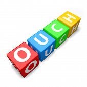 Ouch Word Made Of Colorful Toy Blocks