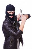 pic of thug  - Young thug with gun isolated on white - JPG