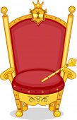 foto of scepter  - Illustration of Shiny Red and Gold Royal Chair with Scepter - JPG