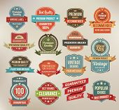 stock photo of recommendation  - Set of retro vector label stickers and ribbons - JPG