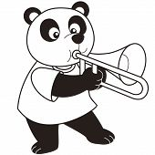 Cartoon Panda Playing A Trombone