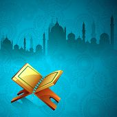 stock photo of islamic religious holy book  - Islamic religious holy book Quran Shareef on beautiful floral decorated background with view of mosque - JPG