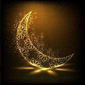 image of muslim  - Shiny floral decorative moon on brown background for Muslim community festival Eid Mubarak - JPG