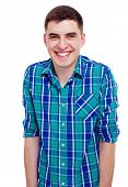 Closeup portrait of smiling young man in checkered shirt. Isolated on white background, mask include