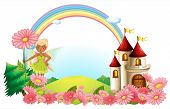stock photo of pixie  - Illustration of a pixie and a castle on a white background - JPG