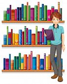 image of short-story  - Illustration of a man in the library on a white background - JPG