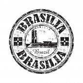 stock photo of brasilia  - Black grunge rubber stamp with the name of Brasilia the capital of Brazil written inside the stamp - JPG