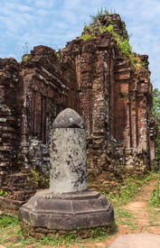 stock photo of lingam  - Vietnam Linga at the My Son Cham towers - JPG
