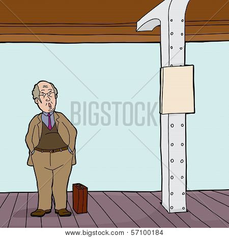 Man On Train Station Platform