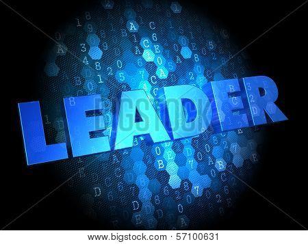 Leader on Dark Digital Background.