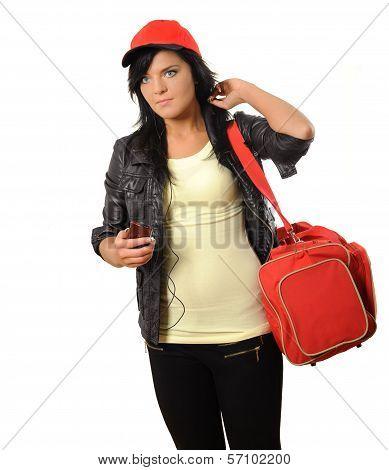 Woman with bag and mobile