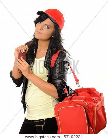 Woman with bag and mobile