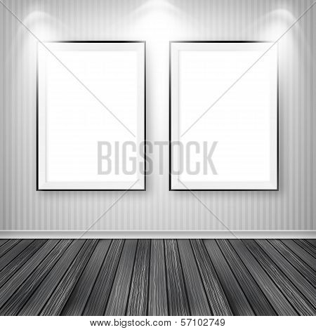Blank Empty White Frame on wall. Gallery portfolio concept
