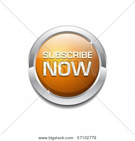 Glossy Shiny Circular Subscribe Tag Button