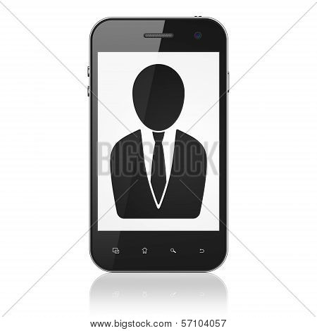 Business concept: Business Man on smartphone
