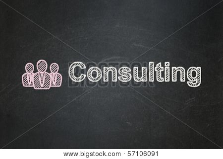 Finance concept: Business People and Consulting on chalkboard background
