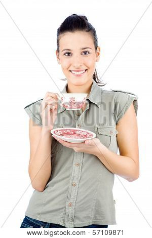Young Smiled Girl Holding A Teapot