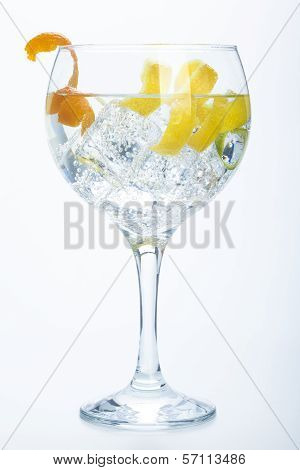 Orange Lemon And Lime Gin Tonic Isolated Over White