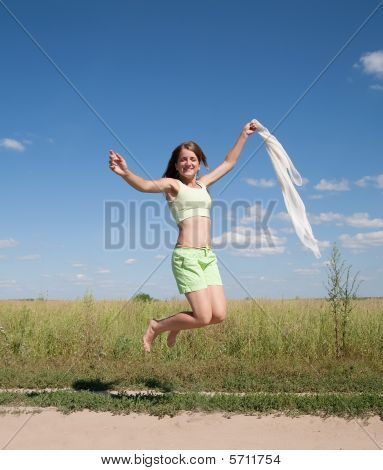 Jumping Long-haired Teen