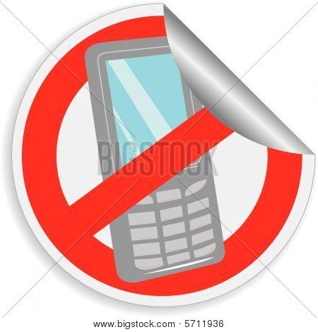 "Sticker prohibition sign ""no mobile phone"""
