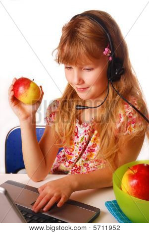 Young Girl Learning With Laptop