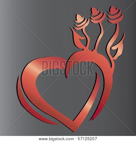 Heart valentine flower tribal