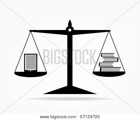 E-book and paper books on scales