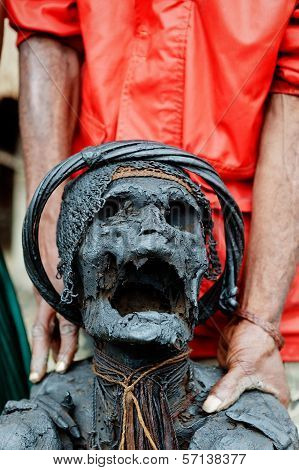 Sacred Mummy Of Dani Papuan Tribe.