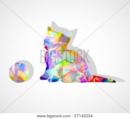 Vector Mosaic Silhouette Of Kitten Playing With Ball