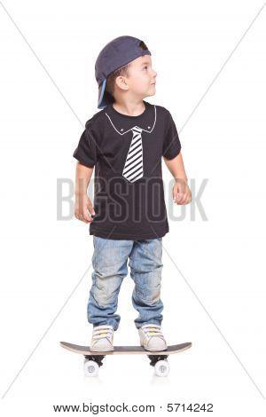 Little child on a skateboard