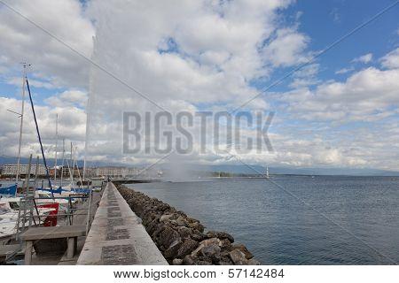 view of city of Geneva the Leman Lake